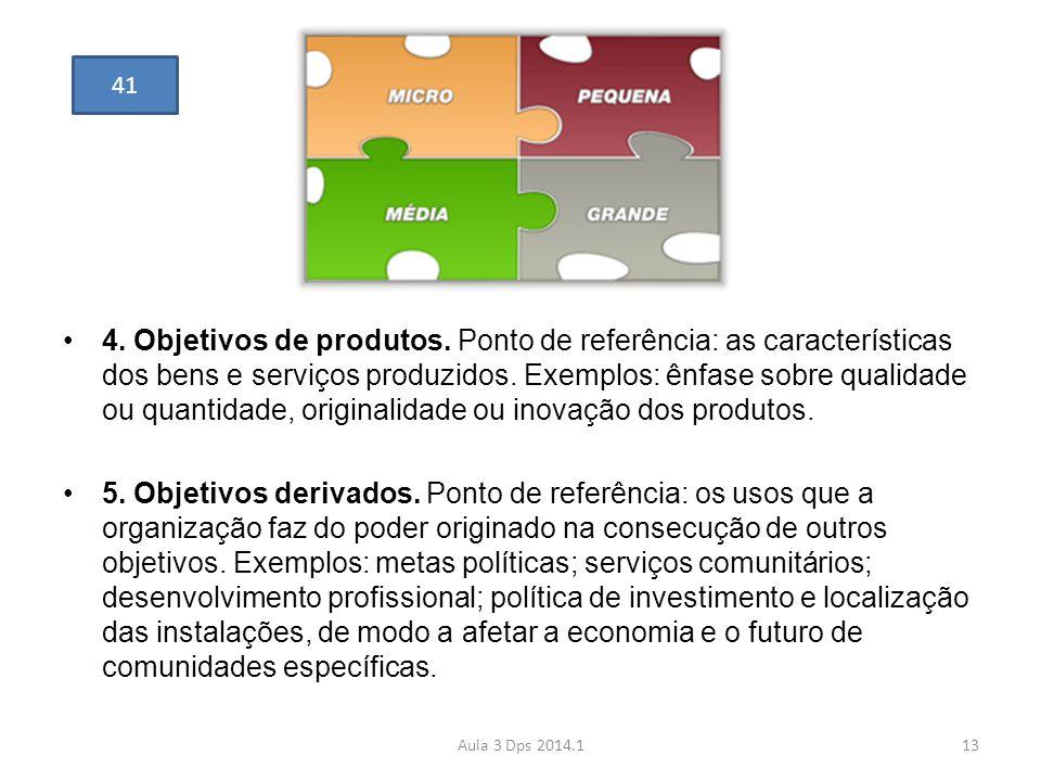 •4. Objetivos de produtos. Ponto de referência: as características dos bens e serviços produzidos. Exemplos: ênfase sobre qualidade ou quantidade, ori