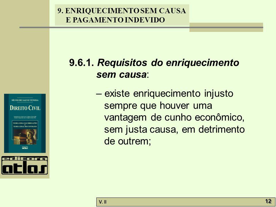 V. II 12 9. ENRIQUECIMENTO SEM CAUSA E PAGAMENTO INDEVIDO 9.6.1. Requisitos do enriquecimento sem causa: – existe enriquecimento injusto sempre que ho
