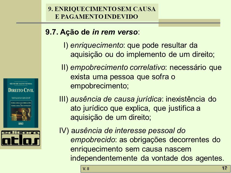 V. II 17 9. ENRIQUECIMENTO SEM CAUSA E PAGAMENTO INDEVIDO 9.7. Ação de in rem verso: I) enriquecimento: que pode resultar da aquisição ou do implement