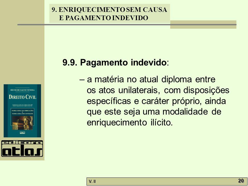 V. II 20 9. ENRIQUECIMENTO SEM CAUSA E PAGAMENTO INDEVIDO 9.9. Pagamento indevido: – a matéria no atual diploma entre os atos unilaterais, com disposi