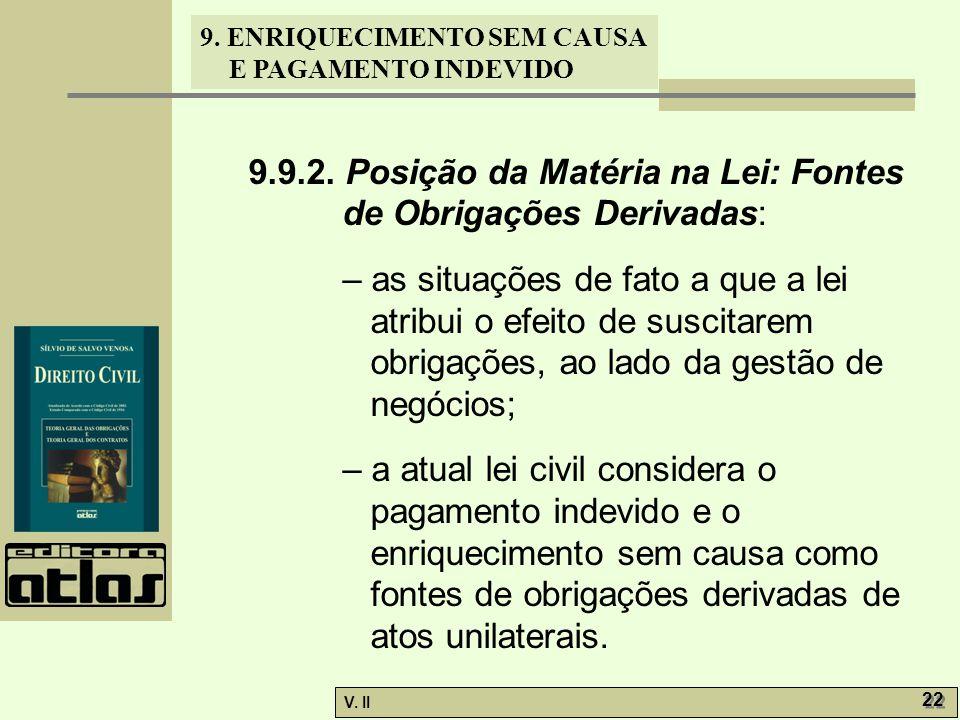 V. II 22 9. ENRIQUECIMENTO SEM CAUSA E PAGAMENTO INDEVIDO 9.9.2. Posição da Matéria na Lei: Fontes de Obrigações Derivadas: – as situações de fato a q