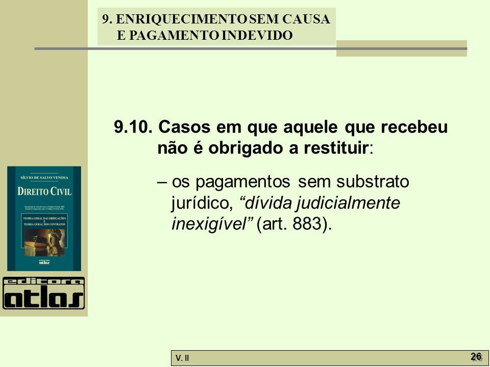 V. II 26 9. ENRIQUECIMENTO SEM CAUSA E PAGAMENTO INDEVIDO 9.10. Casos em que aquele que recebeu não é obrigado a restituir: – os pagamentos sem substr