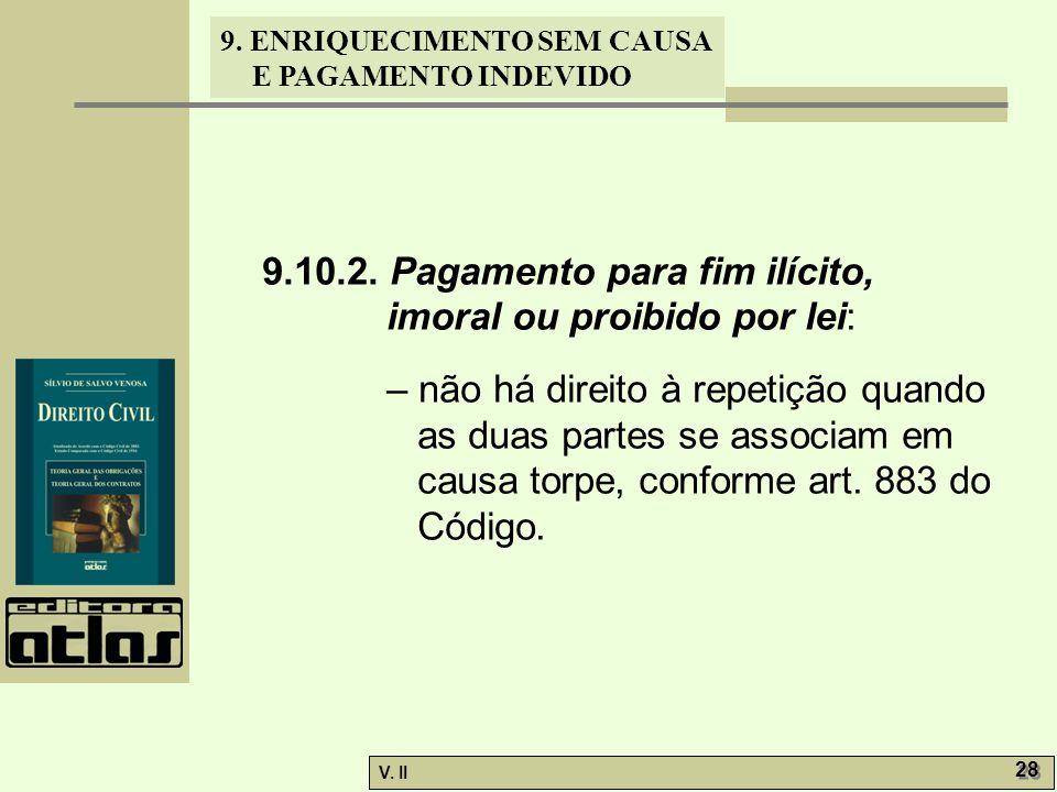 V. II 28 9. ENRIQUECIMENTO SEM CAUSA E PAGAMENTO INDEVIDO 9.10.2. Pagamento para fim ilícito, imoral ou proibido por lei: – não há direito à repetição