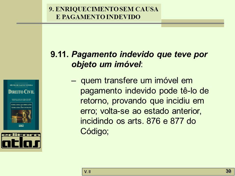 V. II 30 9. ENRIQUECIMENTO SEM CAUSA E PAGAMENTO INDEVIDO 9.11. Pagamento indevido que teve por objeto um imóvel: – quem transfere um imóvel em pagame