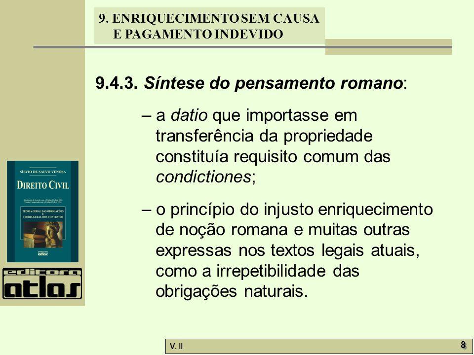V. II 8 8 9. ENRIQUECIMENTO SEM CAUSA E PAGAMENTO INDEVIDO 9.4.3. Síntese do pensamento romano: – a datio que importasse em transferência da proprieda