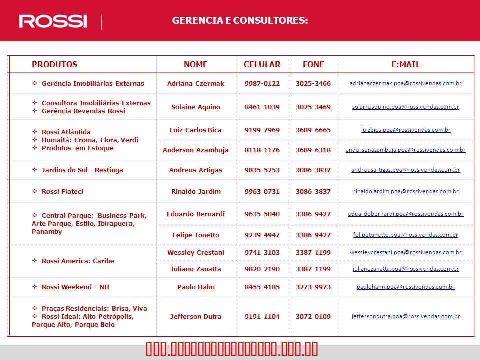 GERENCIA E CONSULTORES: www. rossiresidencial. com. br PRODUTOSNOMECELULARFONEE:MAIL  Gerência Imobiliárias ExternasAdriana Czermak9987-01223025-3466