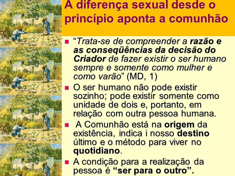 """A diferença sexual desde o princípio aponta a comunhão  """"Trata-se de compreender a razão e as conseqüências da decisão do Criador de fazer existir o"""