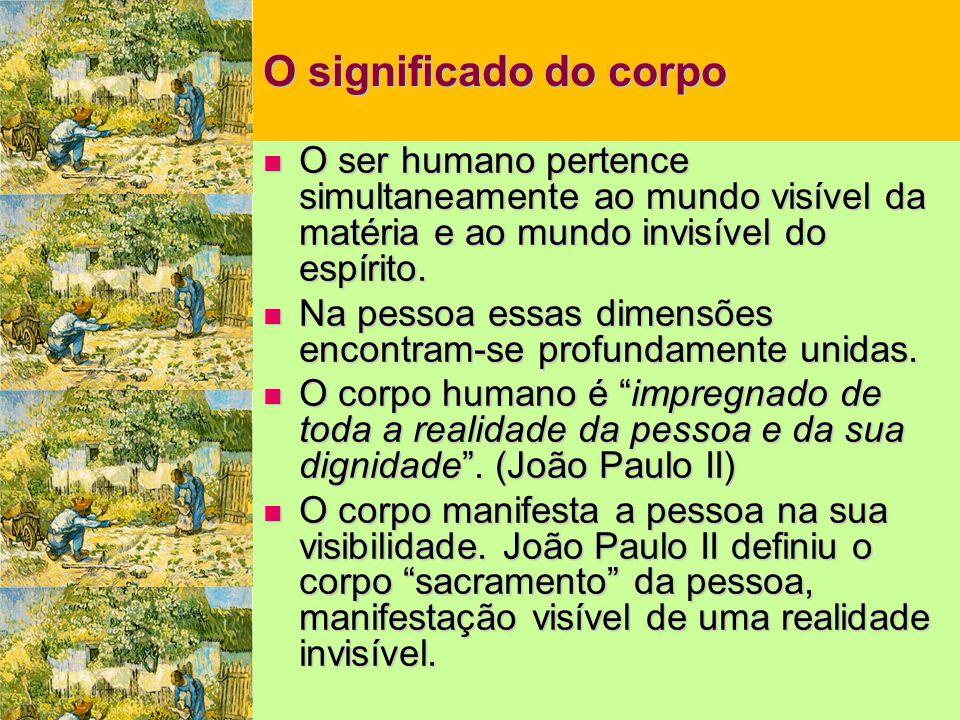 O significado do corpo  O ser humano pertence simultaneamente ao mundo visível da matéria e ao mundo invisível do espírito.  Na pessoa essas dimensõ