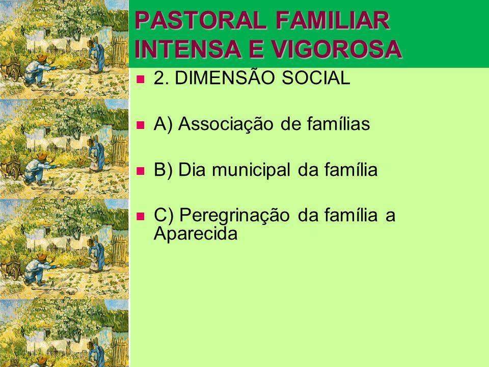 PASTORAL FAMILIAR INTENSA E VIGOROSA   2. DIMENSÃO SOCIAL   A) Associação de famílias   B) Dia municipal da família   C) Peregrinação da famíl
