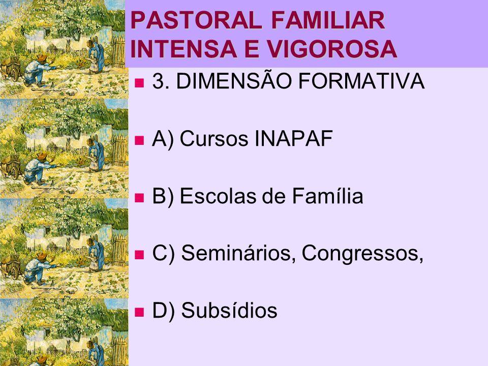 PASTORAL FAMILIAR INTENSA E VIGOROSA   3. DIMENSÃO FORMATIVA   A) Cursos INAPAF   B) Escolas de Família   C) Seminários, Congressos,   D) Su