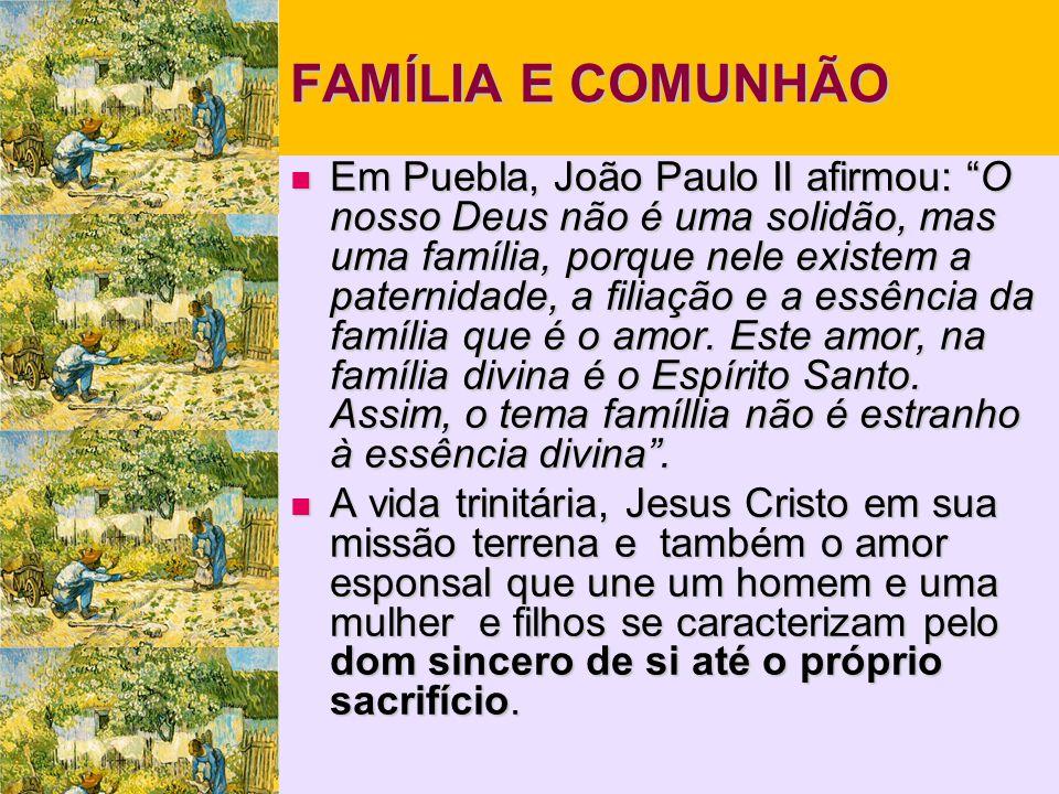 FAMÍLIA E COMUNHÃO  Em Puebla, João Paulo II afirmou: O nosso Deus não é uma solidão, mas uma família, porque nele existem a paternidade, a filiação e a essência da família que é o amor.