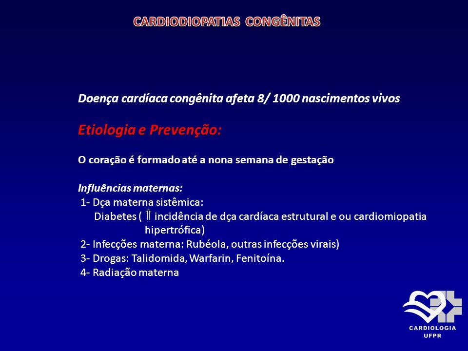 Etiologia e Prevenção: Predisposição Genética: 1- Associado com algum defeito cromossômico: Síndrome de Tuner (xo)  coarctação da aorta.