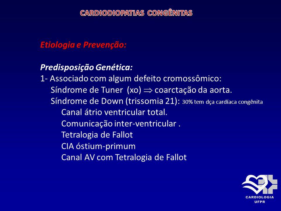 Etiologia e Prevenção: PREVENÇÃO: 1- Evitar drogas e Radiação 2- Imunização de Rubéola 3- Ecocardiografia Fetal