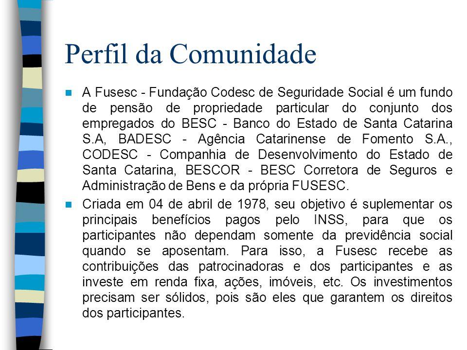 Perfil da Comunidade  A Fusesc - Fundação Codesc de Seguridade Social é um fundo de pensão de propriedade particular do conjunto dos empregados do BESC - Banco do Estado de Santa Catarina S.A, BADESC - Agência Catarinense de Fomento S.A., CODESC - Companhia de Desenvolvimento do Estado de Santa Catarina, BESCOR - BESC Corretora de Seguros e Administração de Bens e da própria FUSESC.