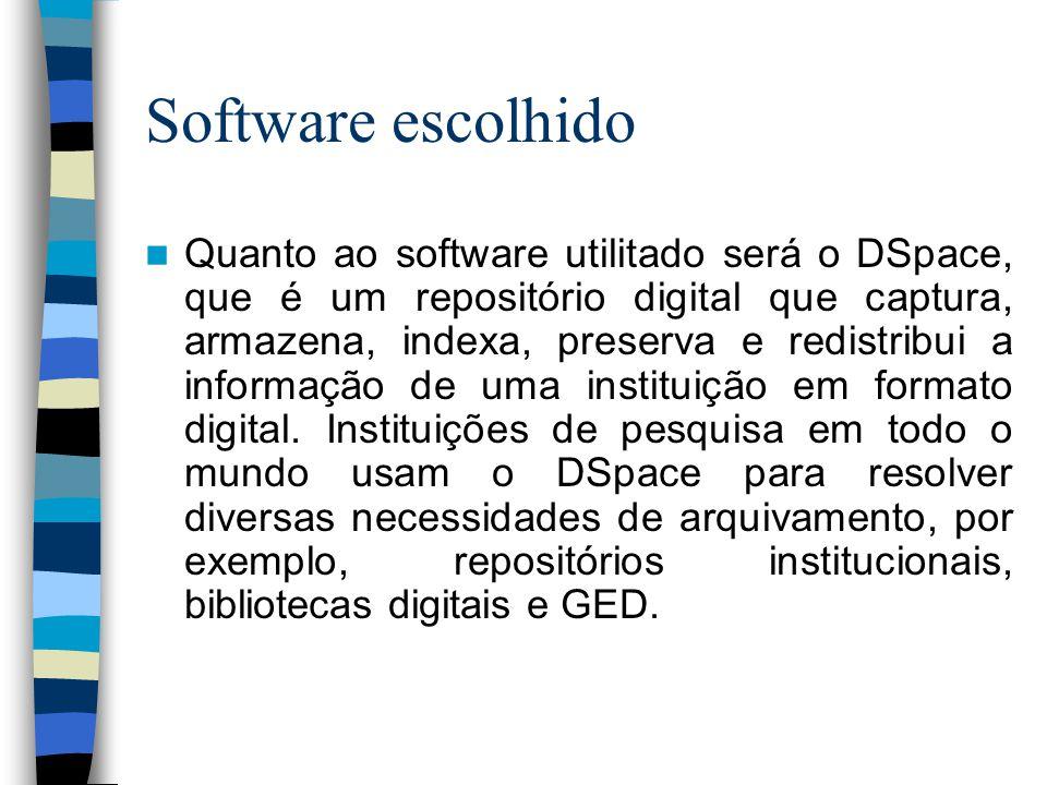 Software escolhido  Quanto ao software utilitado será o DSpace, que é um repositório digital que captura, armazena, indexa, preserva e redistribui a informação de uma instituição em formato digital.