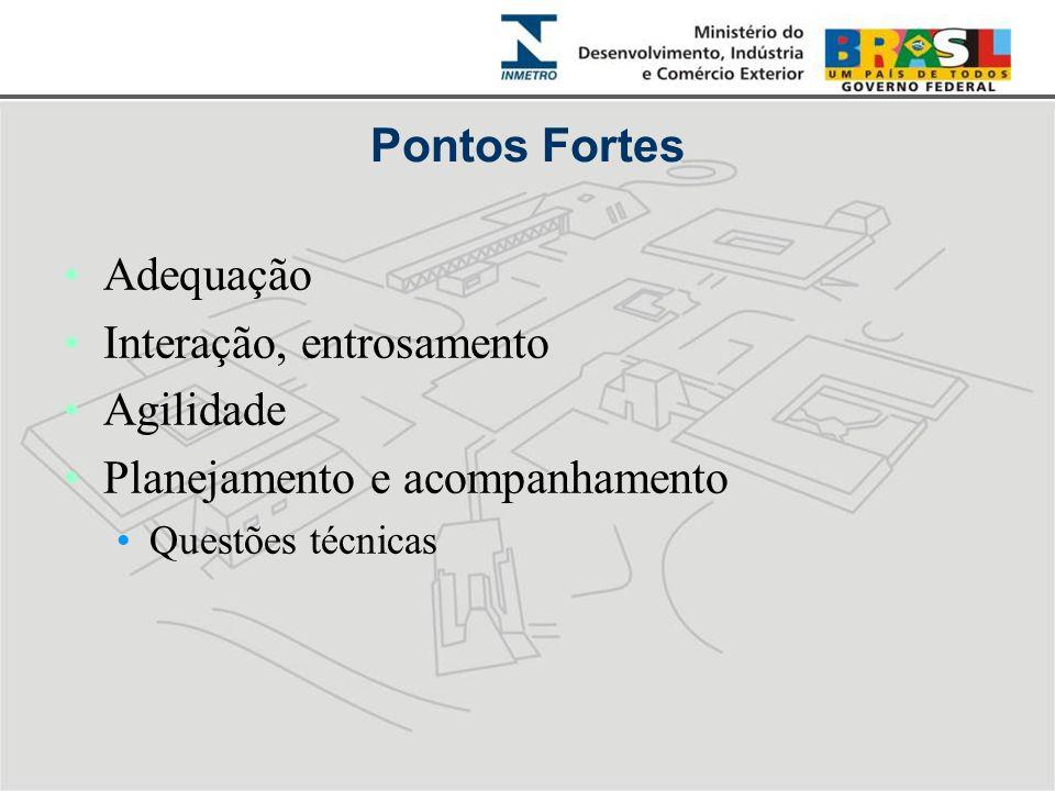 Pontos Fortes •Adequação •Interação, entrosamento •Agilidade •Planejamento e acompanhamento •Questões técnicas