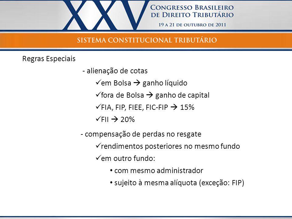 Regras Especiais - alienação de cotas  em Bolsa  ganho líquido  fora de Bolsa  ganho de capital  FIA, FIP, FIEE, FIC-FIP  15%  FII  20% - comp