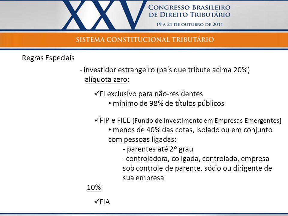 Regras Especiais - investidor estrangeiro (país que tribute acima 20%) alíquota zero:  FI exclusivo para não-residentes • mínimo de 98% de títulos pú