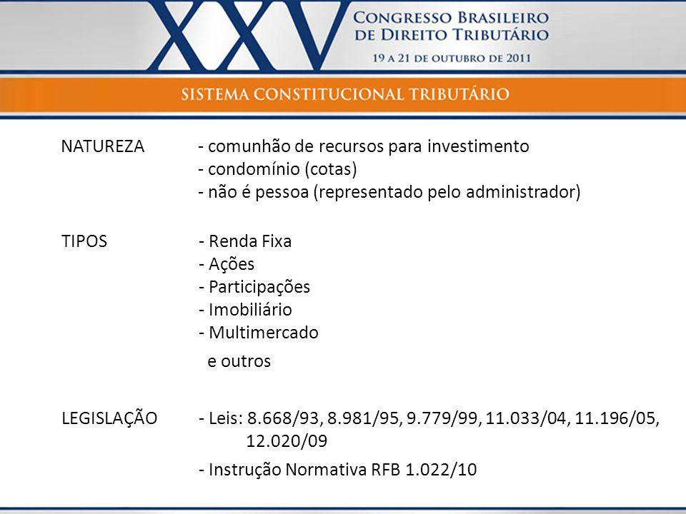 NATUREZA- comunhão de recursos para investimento - condomínio (cotas) - não é pessoa (representado pelo administrador) TIPOS- Renda Fixa - Ações - Par