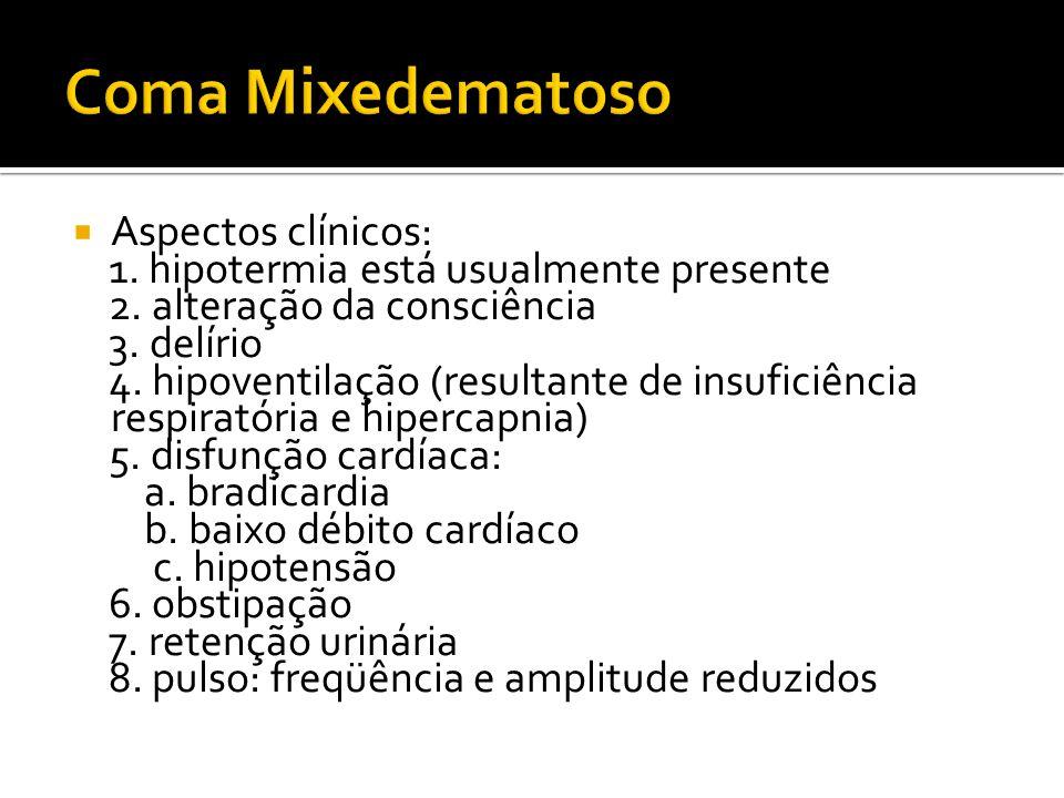  Aspectos clínicos: 1. hipotermia está usualmente presente 2. alteração da consciência 3. delírio 4. hipoventilação (resultante de insuficiência resp