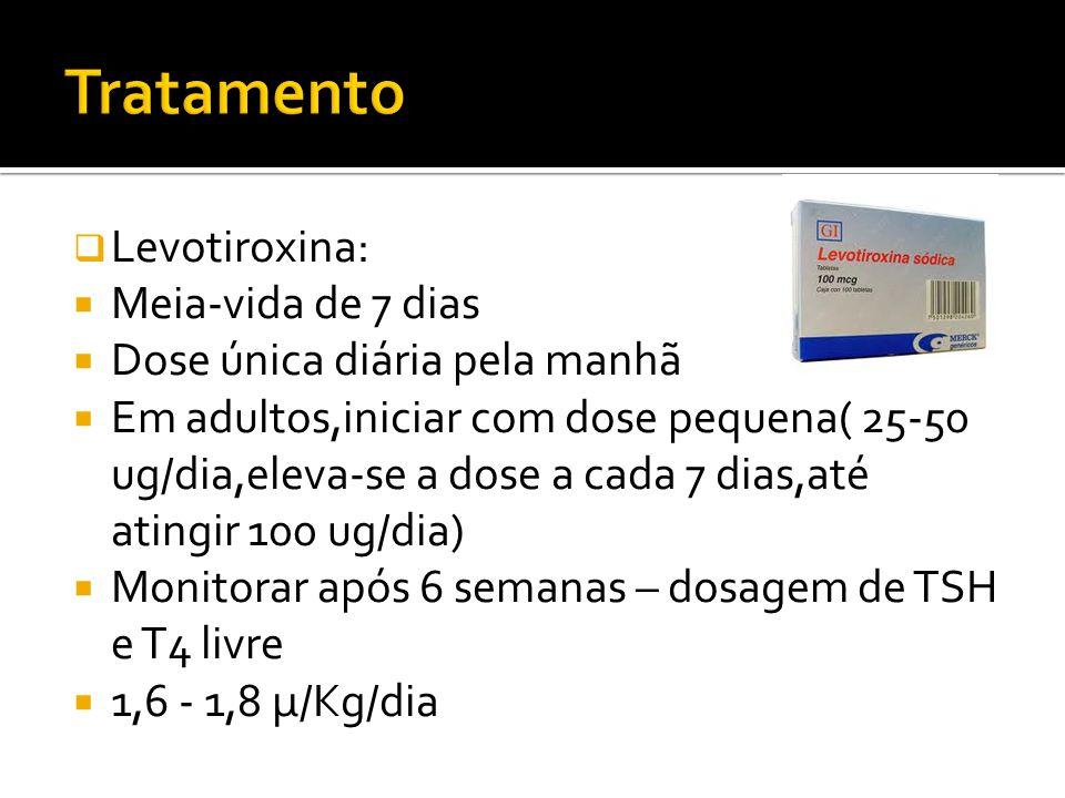  Levotiroxina:  Meia-vida de 7 dias  Dose única diária pela manhã  Em adultos,iniciar com dose pequena( 25-50 ug/dia,eleva-se a dose a cada 7 dias