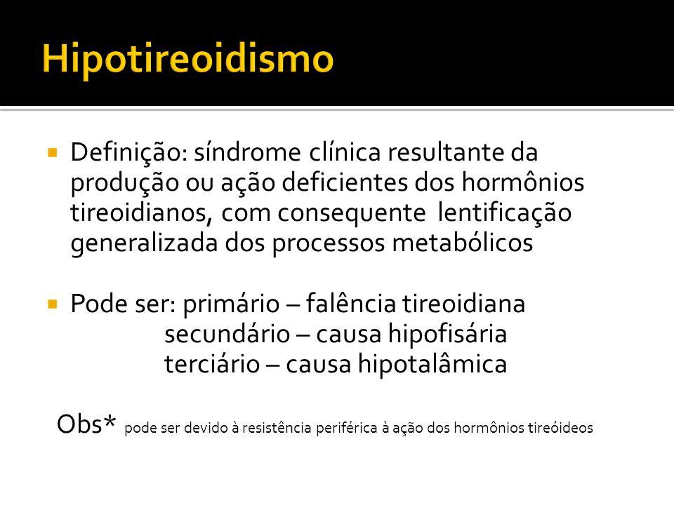  Definição: síndrome clínica resultante da produção ou ação deficientes dos hormônios tireoidianos, com consequente lentificação generalizada dos pro