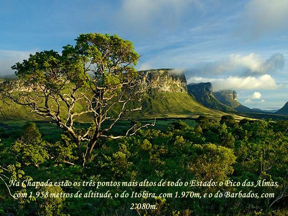 Na Chapada estão os três pontos mais altos de todo o Estado: o Pico das Almas, com 1.958 metros de altitude, o do Itobira, com 1.970m, e o do Barbados