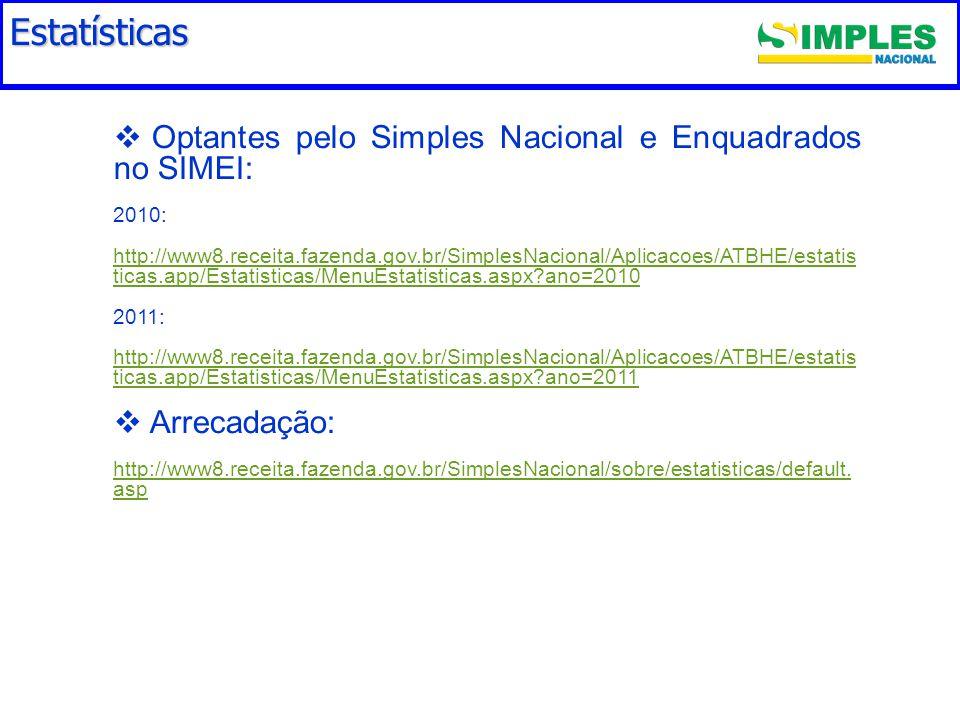 Estatísticas   Optantes pelo Simples Nacional e Enquadrados no SIMEI: 2010: http://www8.receita.fazenda.gov.br/SimplesNacional/Aplicacoes/ATBHE/estatis ticas.app/Estatisticas/MenuEstatisticas.aspx ano=2010 2011: http://www8.receita.fazenda.gov.br/SimplesNacional/Aplicacoes/ATBHE/estatis ticas.app/Estatisticas/MenuEstatisticas.aspx ano=2011   Arrecadação: http://www8.receita.fazenda.gov.br/SimplesNacional/sobre/estatisticas/default.