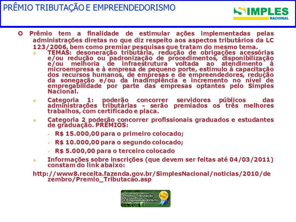 PRÊMIO TRIBUTAÇÃO E EMPREENDEDORISMO O Prêmio tem a finalidade de estimular ações implementadas pelas administrações diretas no que diz respeito aos aspectos tributários da LC 123/2006, bem como premiar pesquisas que tratam do mesmo tema.