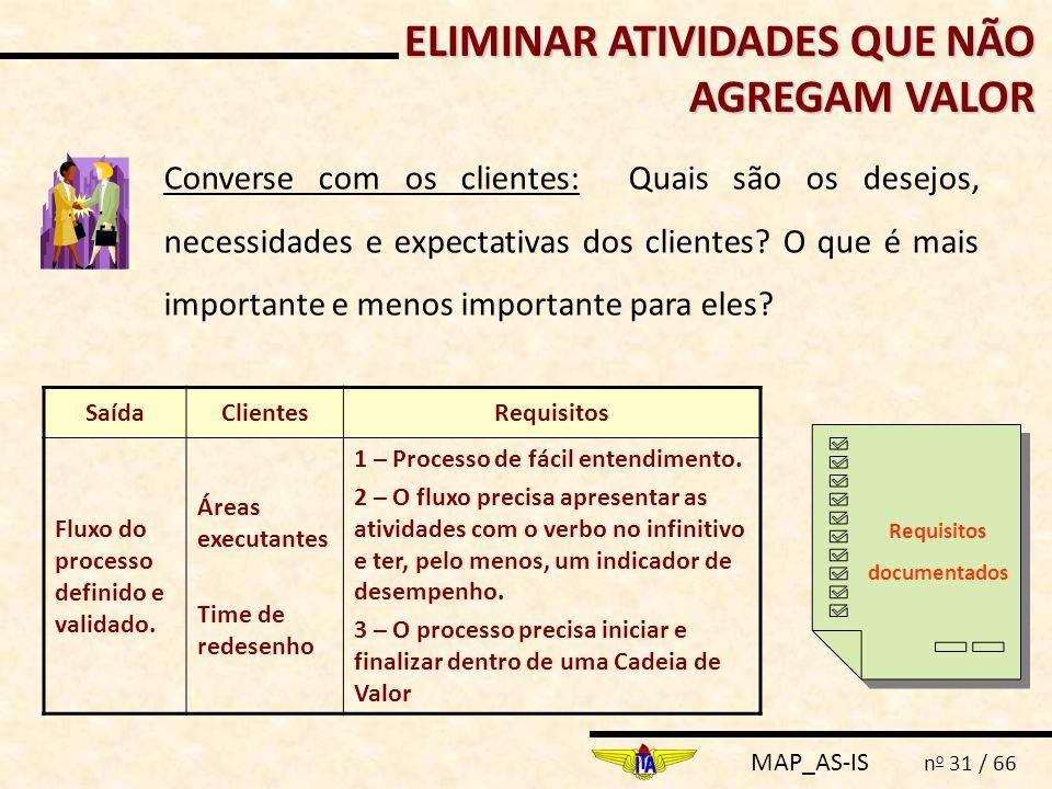 MAP_AS-IS n o 31 / 66 ELIMINAR ATIVIDADES QUE NÃO AGREGAM VALOR Converse com os clientes: Quais são os desejos, necessidades e expectativas dos client