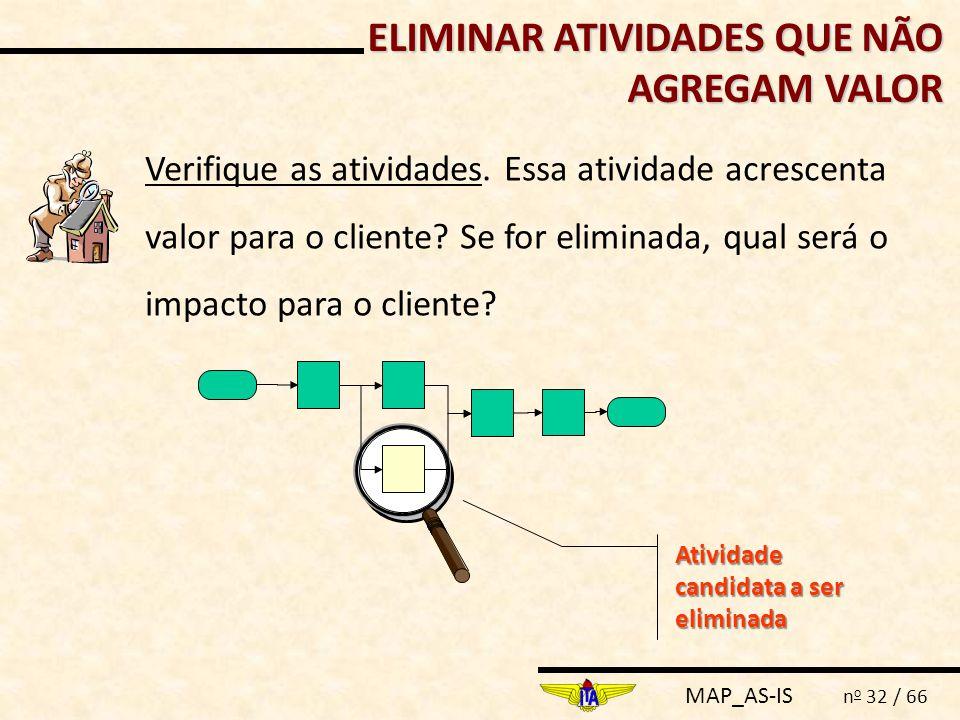 MAP_AS-IS n o 32 / 66 Verifique as atividades. Essa atividade acrescenta valor para o cliente? Se for eliminada, qual será o impacto para o cliente? A