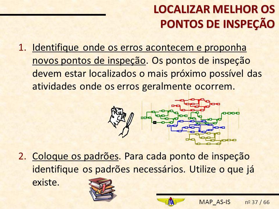 MAP_AS-IS n o 37 / 66 LOCALIZAR MELHOR OS PONTOS DE INSPEÇÃO 1.Identifique onde os erros acontecem e proponha novos pontos de inspeção. Os pontos de i