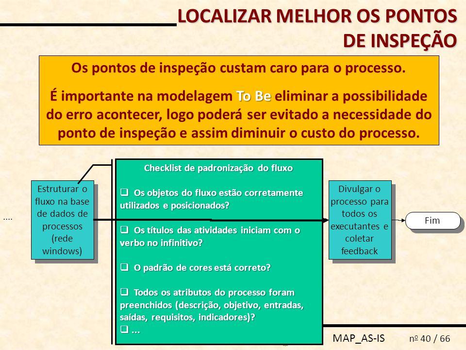 MAP_AS-IS n o 40 / 66 Os pontos de inspeção custam caro para o processo. To Be É importante na modelagem To Be eliminar a possibilidade do erro aconte