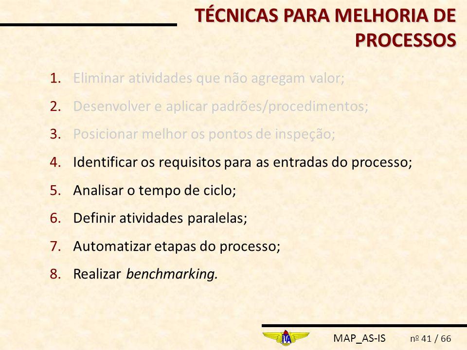 MAP_AS-IS n o 41 / 66 1.Eliminar atividades que não agregam valor; 2.Desenvolver e aplicar padrões/procedimentos; 3.Posicionar melhor os pontos de ins
