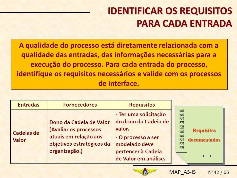MAP_AS-IS n o 42 / 66 IDENTIFICAR OS REQUISITOS PARA CADA ENTRADA A qualidade do processo está diretamente relacionada com a qualidade das entradas, d