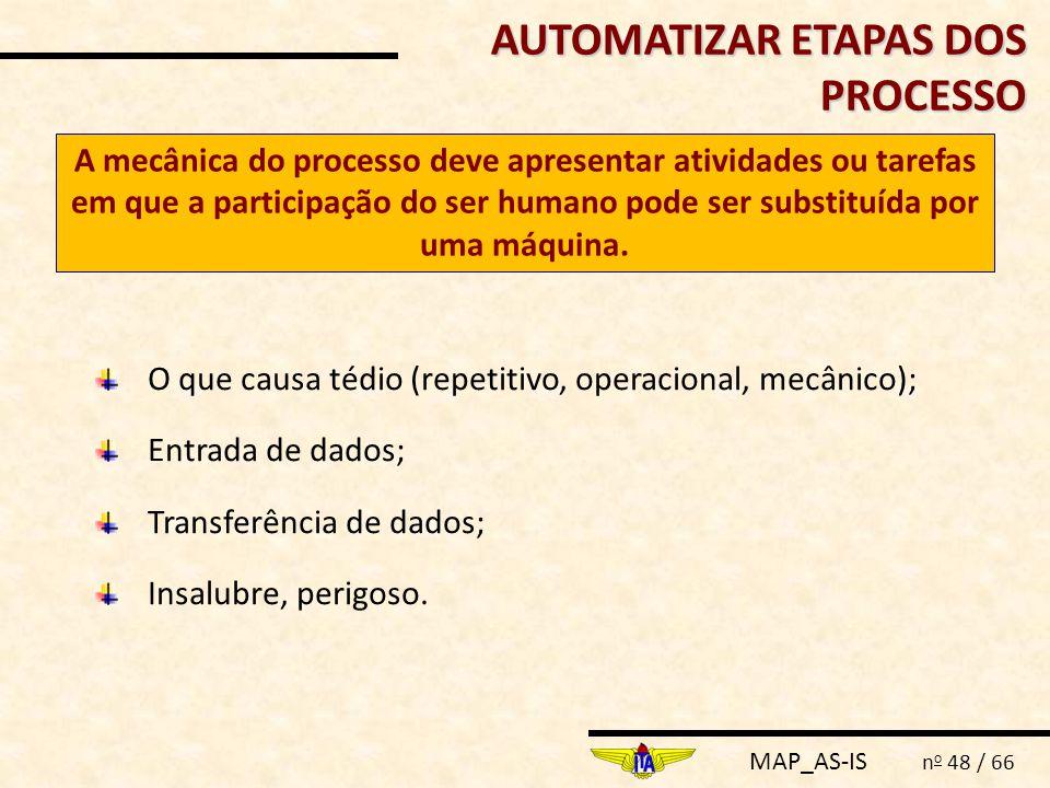 MAP_AS-IS n o 48 / 66 AUTOMATIZAR ETAPAS DOS PROCESSO A mecânica do processo deve apresentar atividades ou tarefas em que a participação do ser humano