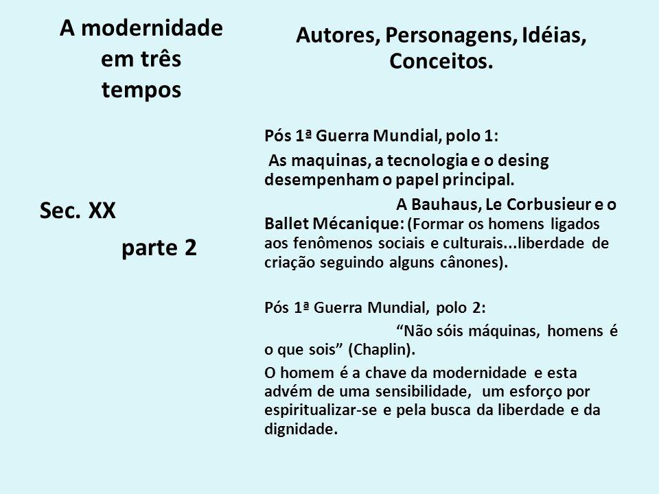A modernidade em três tempos Autores, Personagens, Idéias, Conceitos. Pós 1ª Guerra Mundial, polo 1: As maquinas, a tecnologia e o desing desempenham