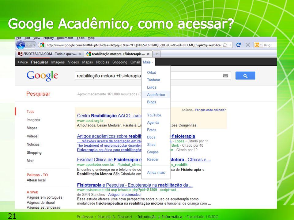 21 Professor : Marcelo S. Disconzi - Introdução a Informática - Faculdade UNIRG