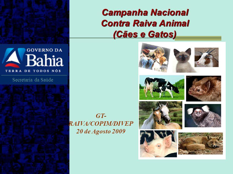Secretaria da Saúde Campanha Nacional Contra Raiva Animal (Cães e Gatos) GT- RAIVA/COPIM/DIVEP 20 de Agosto 2009