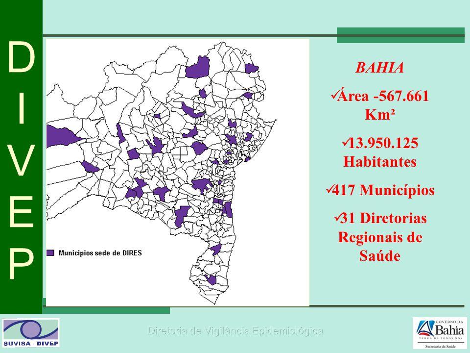DIVEPDIVEP BAHIA  Área -567.661 Km²  13.950.125 Habitantes  417 Municípios  31 Diretorias Regionais de Saúde