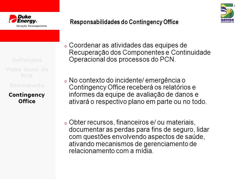 Responsabilidades do Contingency Office Coordenar as atividades das equipes de Recuperação dos Componentes e Continuidade Operacional dos processos do PCN.