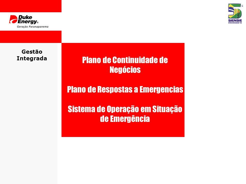 Gestão Integrada Plano de Continuidade de Negócios Plano de Respostas a Emergencias Sistema de Operação em Situação de Emergência