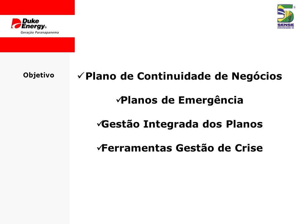 Objetivo  Plano de Continuidade de Negócios  Planos de Emergência  Gestão Integrada dos Planos  Ferramentas Gestão de Crise