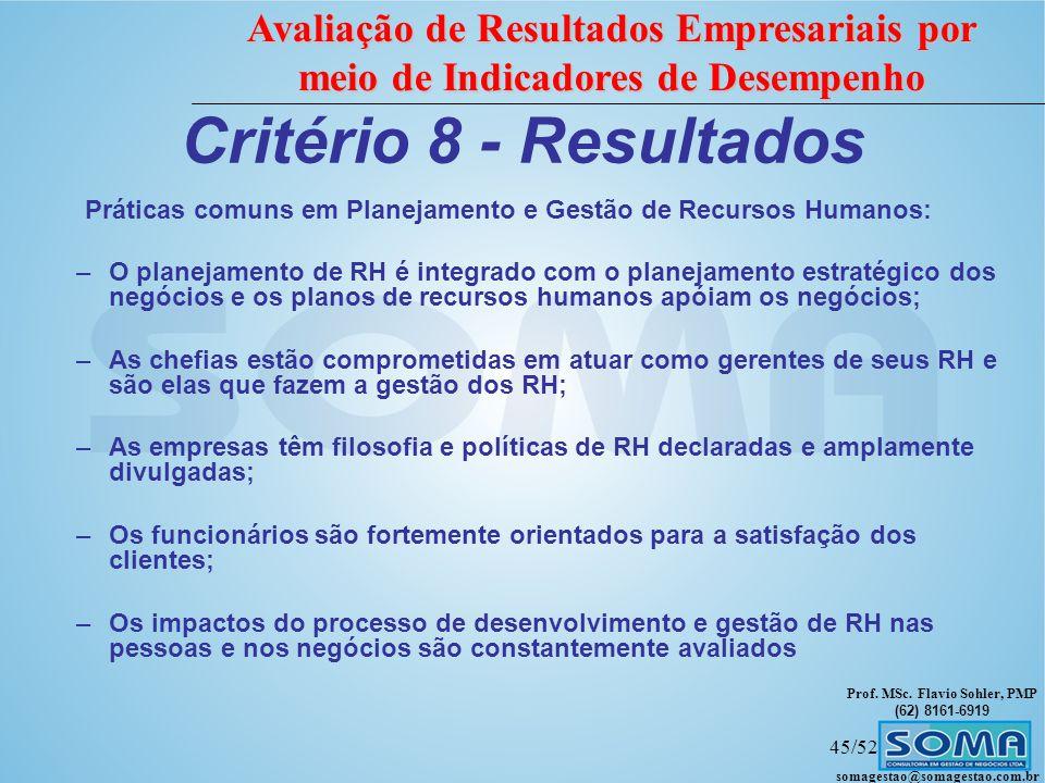 Prof. MSc. Flavio Sohler, PMP (62) 8161-6919 Avaliação de Resultados Empresariais por meio de Indicadores de Desempenho somagestao@somagestao.com.br 4