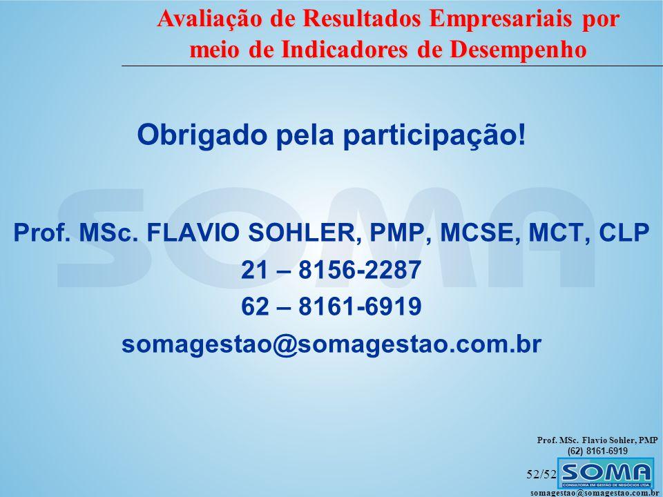 Prof. MSc. Flavio Sohler, PMP (62) 8161-6919 Avaliação de Resultados Empresariais por meio de Indicadores de Desempenho somagestao@somagestao.com.br 5