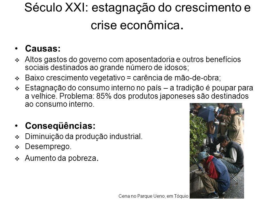 Século XXI: estagnação do crescimento e crise econômica. •Causas:  Altos gastos do governo com aposentadoria e outros benefícios sociais destinados a