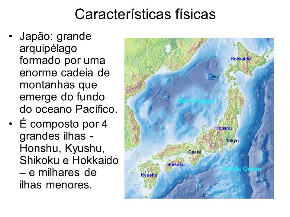 Características físicas •Japão: grande arquipélago formado por uma enorme cadeia de montanhas que emerge do fundo do oceano Pacífico. •É composto por