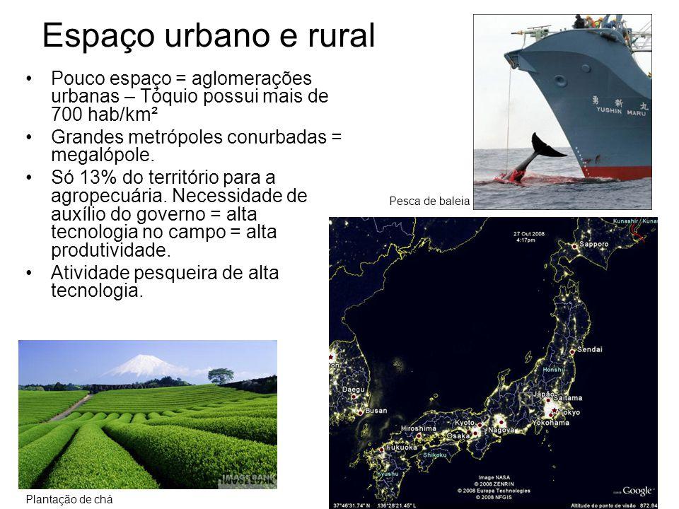 Espaço urbano e rural •Pouco espaço = aglomerações urbanas – Tóquio possui mais de 700 hab/km² •Grandes metrópoles conurbadas = megalópole. •Só 13% do