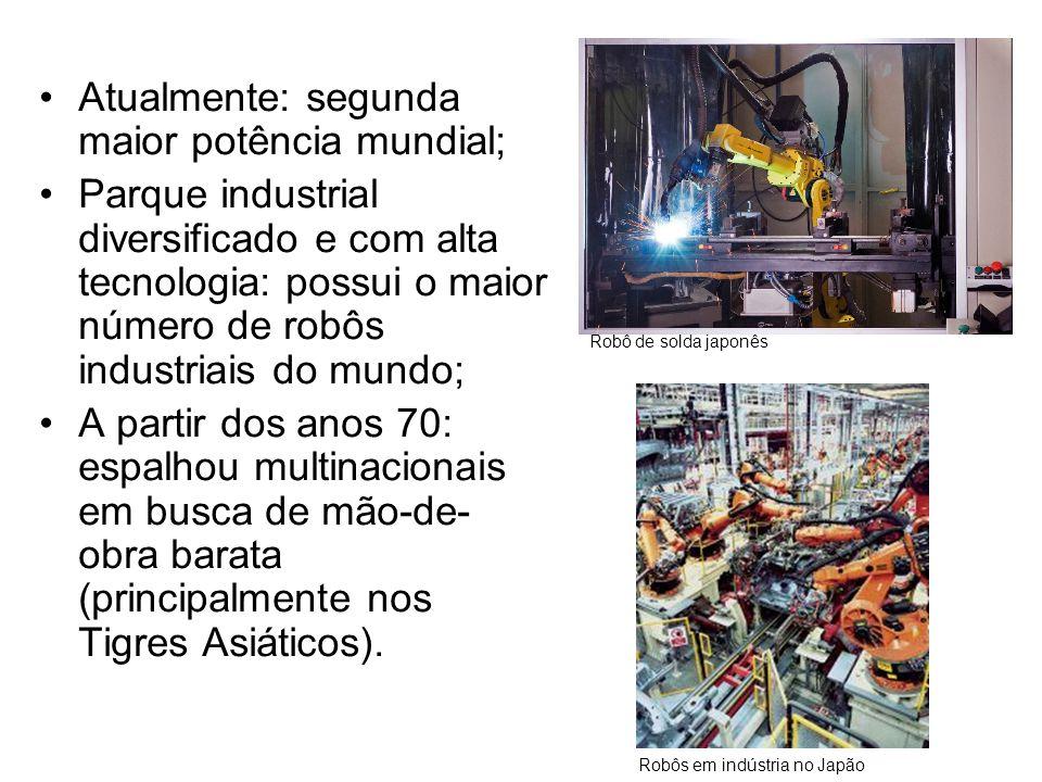 •Atualmente: segunda maior potência mundial; •Parque industrial diversificado e com alta tecnologia: possui o maior número de robôs industriais do mun