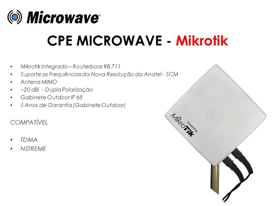CPE MICROWAVE - Mikrotik • Mikrotik Integrado – Routerboar RB 711 • Suporte as Frequências da Nova Resolução da Anatel - SCM • Antena MIMO • ~20 dBi -